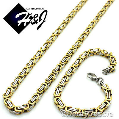 "18-40""MEN Stainless Steel 4mm Gold Silver Box Link Chain Necklace Bracelet SET*S"