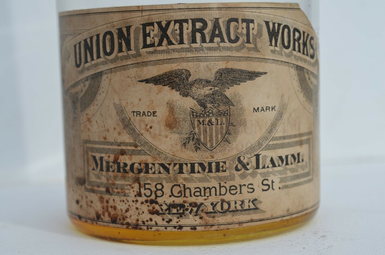 EARLY UNION EXTRACT BOTTLE WORKS BOTTLE EXTRACT BY MERGENTIME & LAMM IN NEW YORK PAPER LABEL 7c94b3