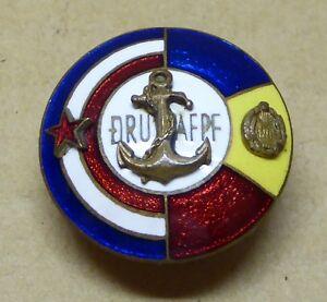 Vintage enamel button badge, DRU AFPF Marine, Ikon Zagreb, 24mm.