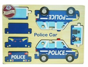 Wooden-3D-Puzzle-Blue-Children-7pc-Jigsaw-DIY-Police-Car-Model-Gift-For-Kids-3