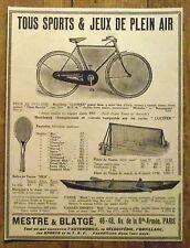 PUBLICITE SPORTS JEUX PLEIN AIR CANOE VELO LUCIFER     advert 1924