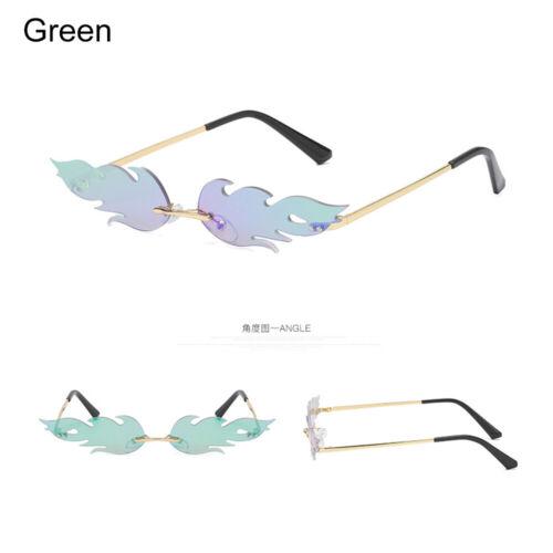 Fashion feu flamme Lunettes de soleil femmes sans monture Wave verres étroits Eyewear HQ 2019