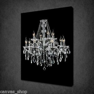 Image Is Loading BEAUTIFUL GLASS CRISTAL CHANDELIER WALL ART CANVAS PRINT