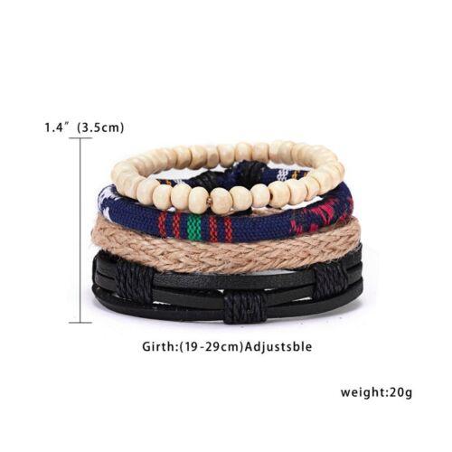 4pcs Fashion Punk Men Leather Braid Tribal Wrap Bracelet Cuff Wristband Bangle