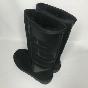 760273e13cfc Image is loading UGG-CLASSIC-TALL-UGG-RUBBER-SUEDE-SHEEPSKIN-BLACK-