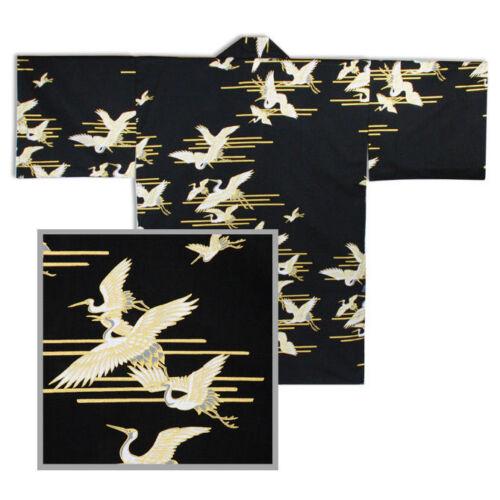 "Japanse 34/"" Women Black Tsuru Crane Happi Coat Yukata Kimono Robe Made in Japan"