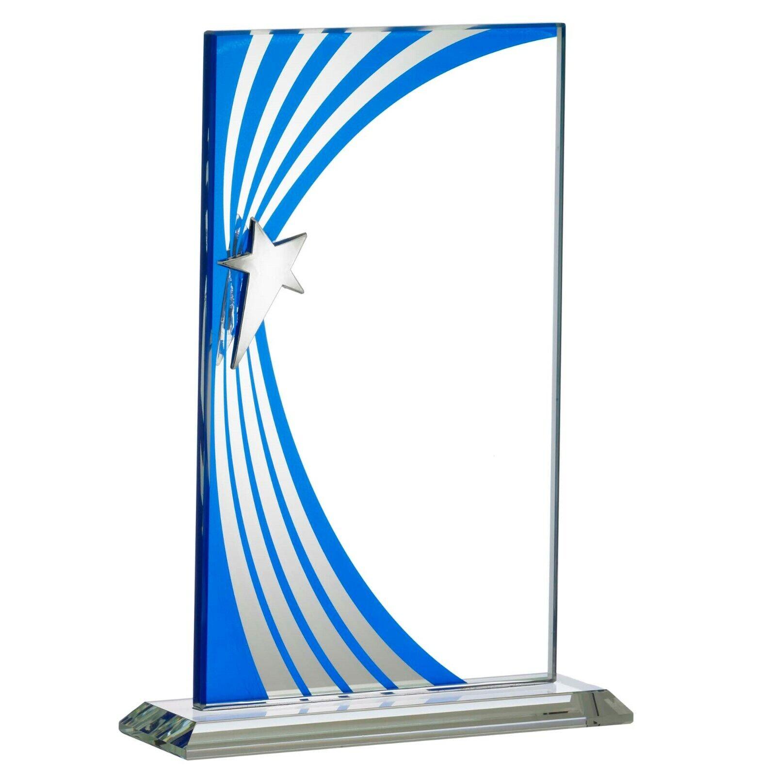 Blauw zilver Mirror Glass Rectangle Trophy Cast Metal Star GRATIS Gravin Box