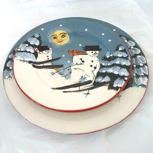 Sakura-David-Carter-Brown-Dinner-and-Salad-Plates-Christmas-Holiday-Snowman