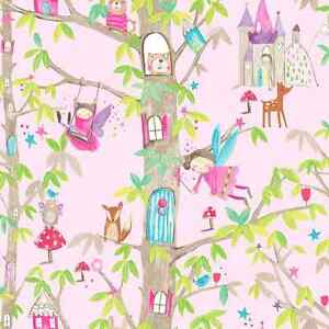 Image Is Loading Woodland Pink Fairies Wallpaper Fairytale Design With Glitter