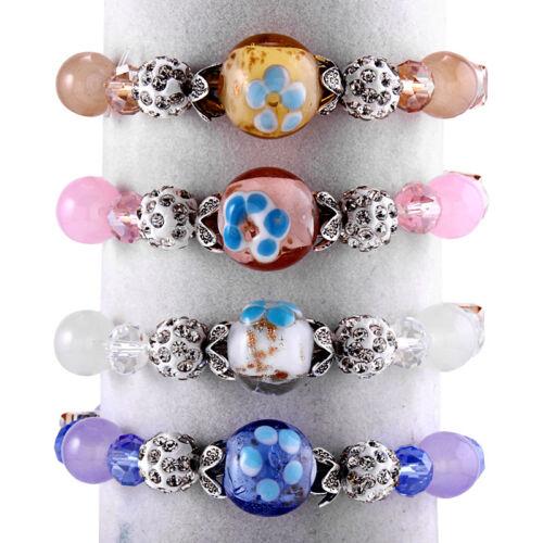 1x Multicolore Perles en verre Facette Cut Perles Rhinestone Stretch Bracelet Pour Femmes