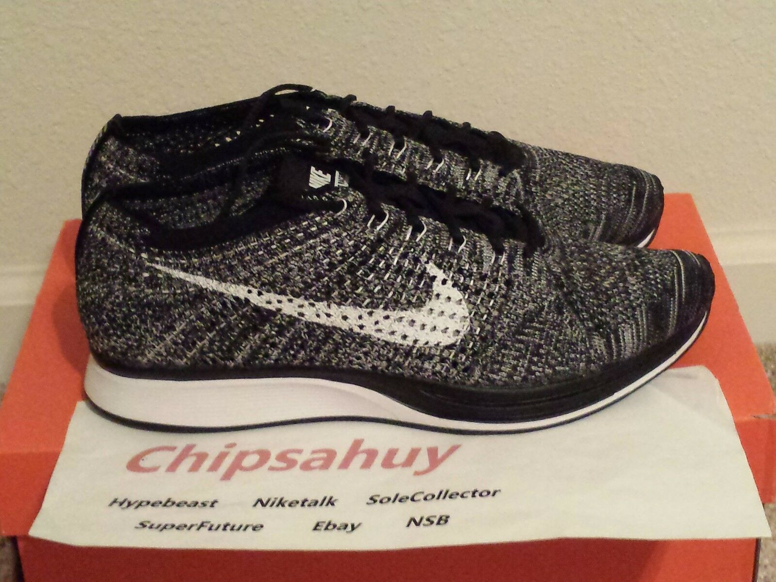 Nike Flyknit Racer Oreo Grey 2.0 Grey Oreo White Black Zoom Air Trainer Shoe DS Size 8.5 400c28