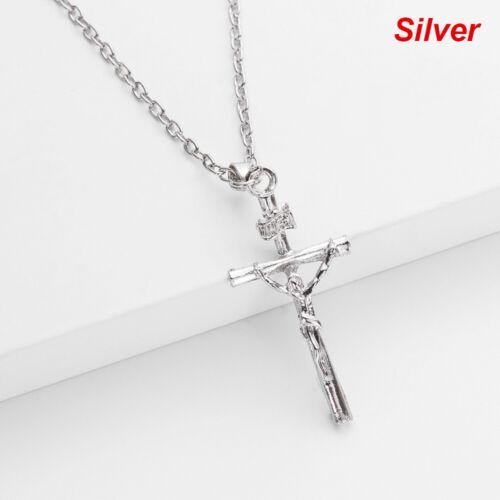 18K Gold Plated Women Men INRI Crucifix Jesus  Cross Pendant Necklace Chain