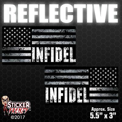 Infidel Punisher American Flag AR Car Truck Window Decal Sticker White 6X6.5
