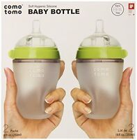 Comotomo Baby Bottle, Green, 8 Ounce, 2-count , New, Free Shipping on sale