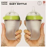 Comotomo Baby Bottle, Green, 8 Ounce, 2-count , New, Free Shipping