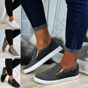 b469a8bb2 New Womens Casual Sneakers Flat Slip On Diamante Zip Trainers Pumps ...