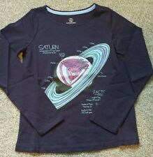 Lands' End Girls Long Sleeve navy Graphic Tee shirt. size 5-6 years. Brand new