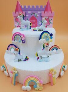 Image Is Loading Rainbow Unicorn Amp Castle Birthday Cake Topper