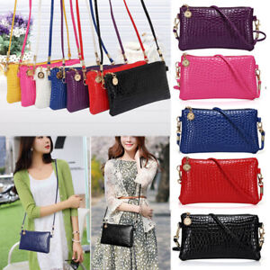 WOMEN FAUX LEATHER ZIPPER CLUTCH MINI CROSS BODY SHOULDER BAG PHONE BAG SAUCY