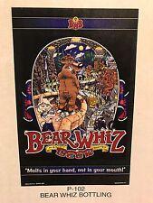 BEAR WHIZ BEER Bottling ~ VINTAGE ~ New Old Stock ~ Poster Advertising Sign P2