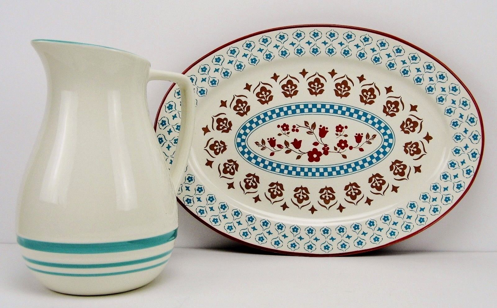 NIB - The General Store by Gibson  Hollydale Pattern  Oval Platter & Pitcher Set