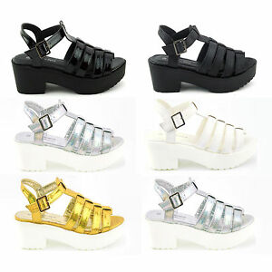 NEW-WOMENS-GIRLS-GLADIATOR-CUT-OUT-SANDALS-PUNK-PLATFORM-CHUNKY-BLOCK-HEEL-SIZE
