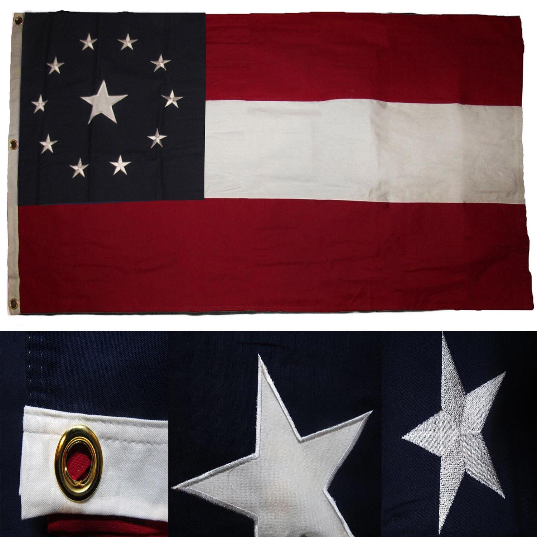 1.5x2.9m Bestickt Genäht Sterne Barren National 11 Baumwolle Schatulle Flagge