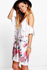 Tanya Ruffle Cold Shoulder Floral Dress CREAM 12