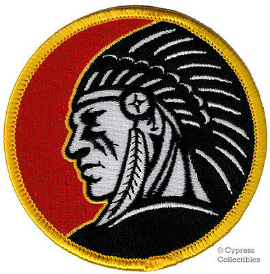 INDIAN CHIEF HEADDRESS EMBLEM PATCH IRON-ON EMBROIDERED RED ROUND LOGO