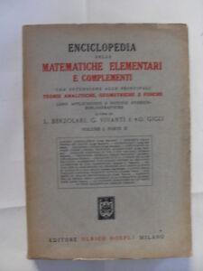 Enciclopedia delle matematiche elementari e complementari ...