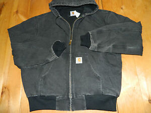 1990's Black Carhartt Hooded Jacket w/Lining Style JR105 Sz XL Made in USA used