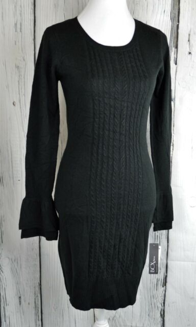c28d6d1da5a BCX Ladies Tiered-Sleeve Bodycon Sweater Dress Cable-Knit Front Black  Medium M