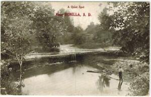 Fishing-near-Bonilla-SD-A-Quiet-Place-Mailed-to-Baraboo-Wisconsin-1913-PC