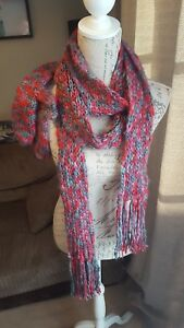 Very long thin scarf And Gloves Set Pink red And Grey