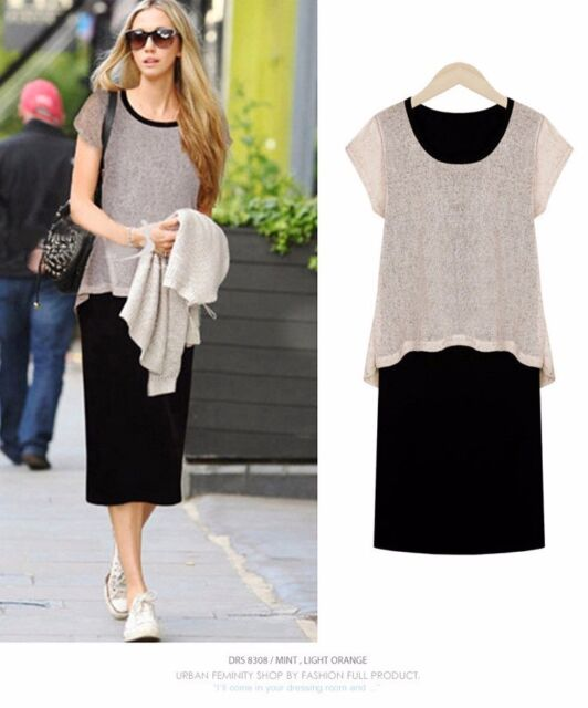 Summer Dress Women Clothes Round Neck Plus Size Slim Patchwork Above Knee Dress