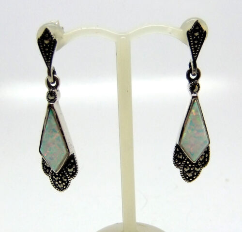 Opalique And Marcasite in 925 Sterling  Earrings