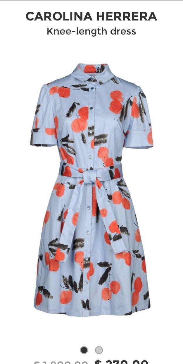 NWT Carolina Herrera Cherry-Print Shirtdress. Size 2