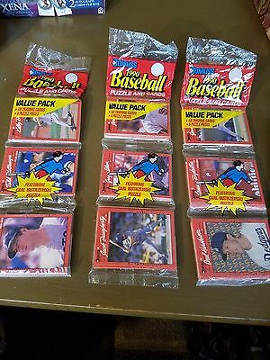 3 Vintage 1990 Donruss Baseball Puzzle And Cards Value Pack