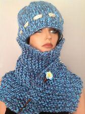 Hat Scarf Set Hand Knit Beanie Beret Slouch Designer Fashion Ski Snowboarding