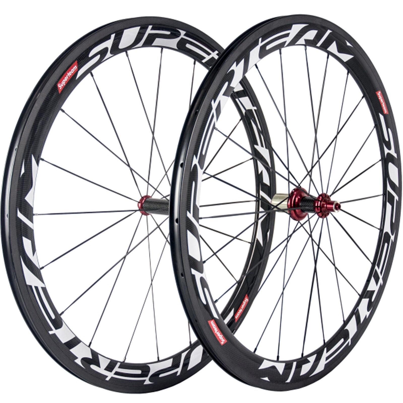 SUPERTEAM 50mm Clincher Carbon Wheelset Road Bike Carbon Wheels Cycling Wheel