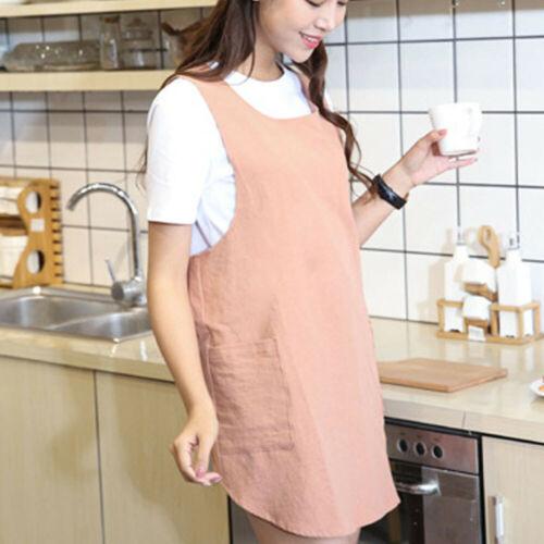 Cotton Linen Womens Kitchen Wrap Pinafore Cross Back Apron Japanese Housework