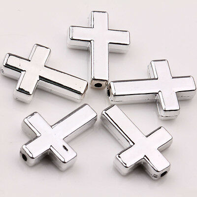 Lots 10Pcs Silver Plated Acrylic Cross Beads Charms Jewelry Making 24x18x5MM