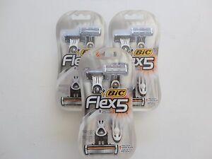 (3) BIC FLEX 5 SHAVER W/ Balancing Sphere & 5 Flexible Blades x 6 Shavers
