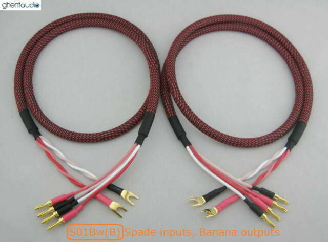 --- Pair HIFI Canare Bi-Wire Speaker Audio Cable 2 to 4 Spades 3m 10ft C S01Bw