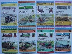 1984-Grenadines-ensemble-2-train-locomotive-chemin-de-fer-de-timbres-les-dirigeants-du-monde