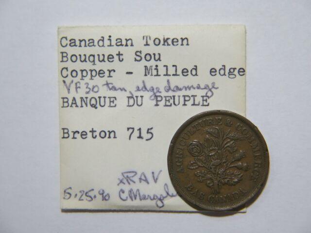 CANADA BOUQUET UN SOU 1/2 PENNY BANK TOKEN EX:DONALD G PARTRICK BRETON 715🌈⭐🌈
