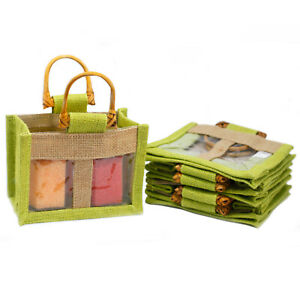 5-x-Two-Small-Jar-Jute-Gift-Bag-Green-Gift-Bags-With-Handles-And-Window