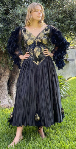 vintage black beaded feathered ball gown - image 1