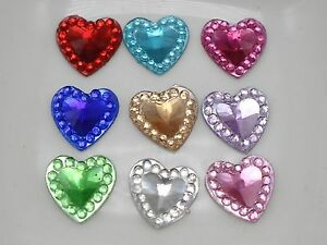 500-Mixed-Color-Acrylic-Flatback-Heart-Rhinestone-Gem-8X8mm-Embellishments