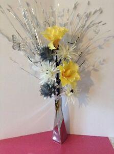 Artificial silk flower arrangement silver whiteyellow in slim image is loading artificial silk flower arrangement silver amp white yellow mightylinksfo